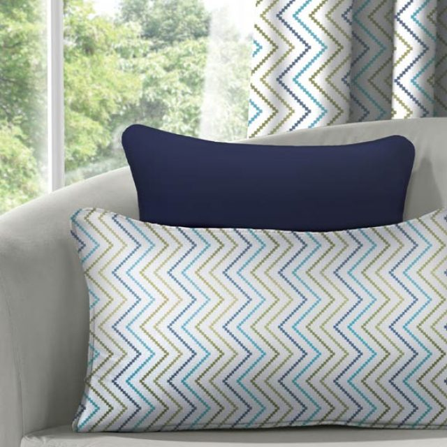 ZigZag Azure & Silky Navy Cushion