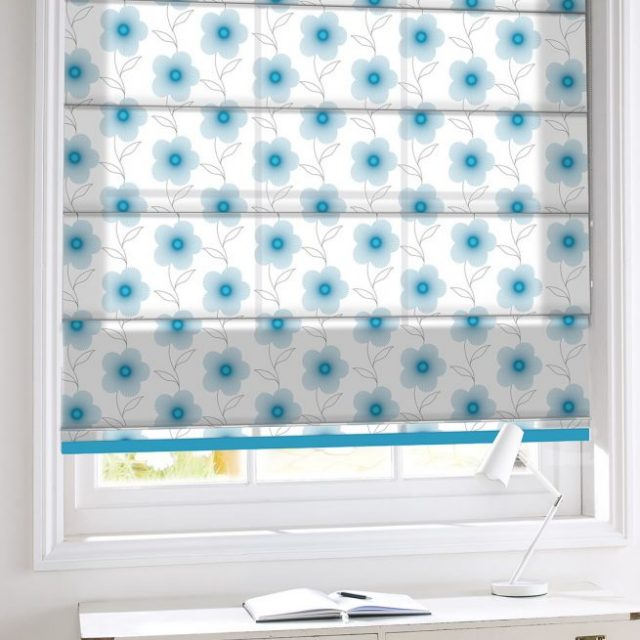 Lineflower Turquoise romex blinds