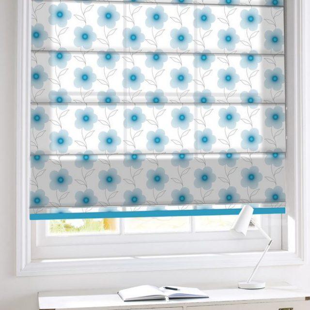 Lineflower Turquoise romex blinds