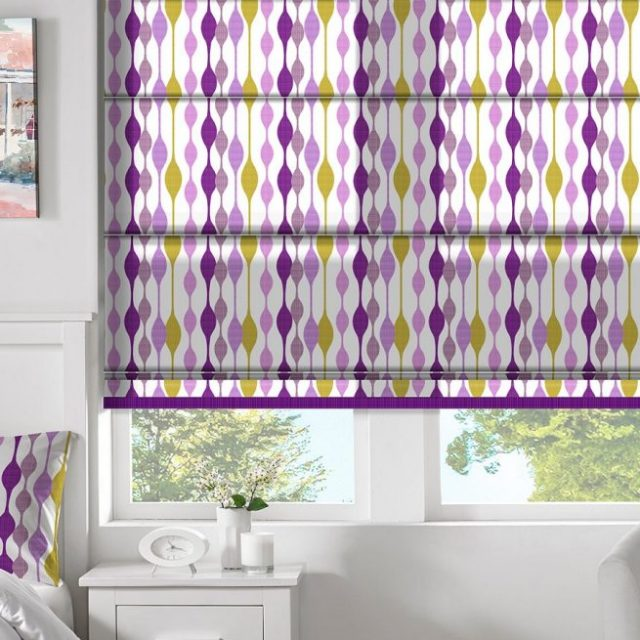 Curve Mauve romex blinds