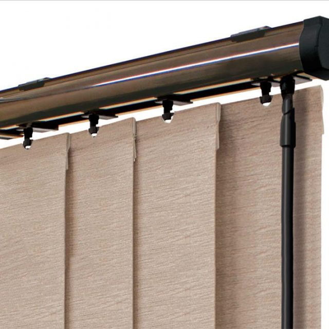 Brown vogue vertical blinds headrail