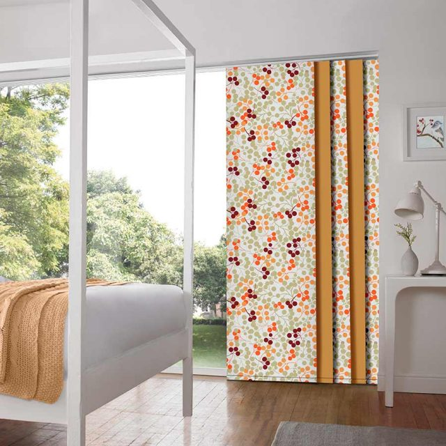 Berries Orange panel blinds