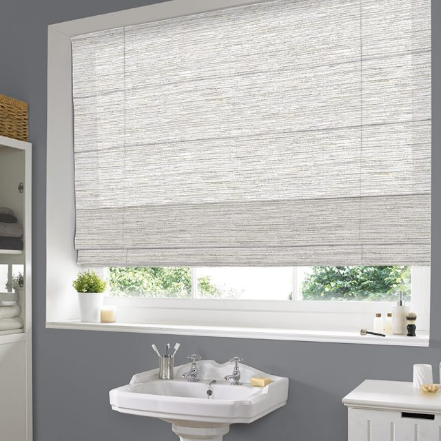 Calico Oyster roman blinds