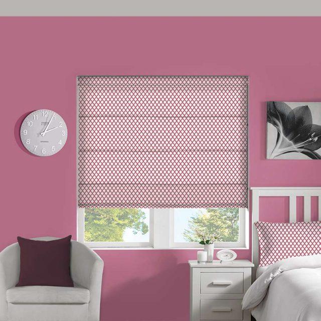CrissCross Bubblegum roman blinds
