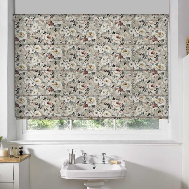Floral Taupe roman blinds