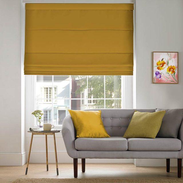 Plains Mustard roman blinds