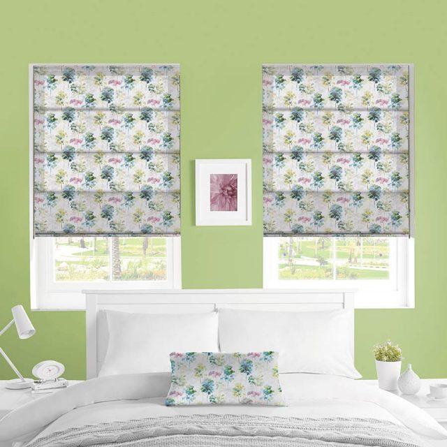 Watercolour Forest roman blinds