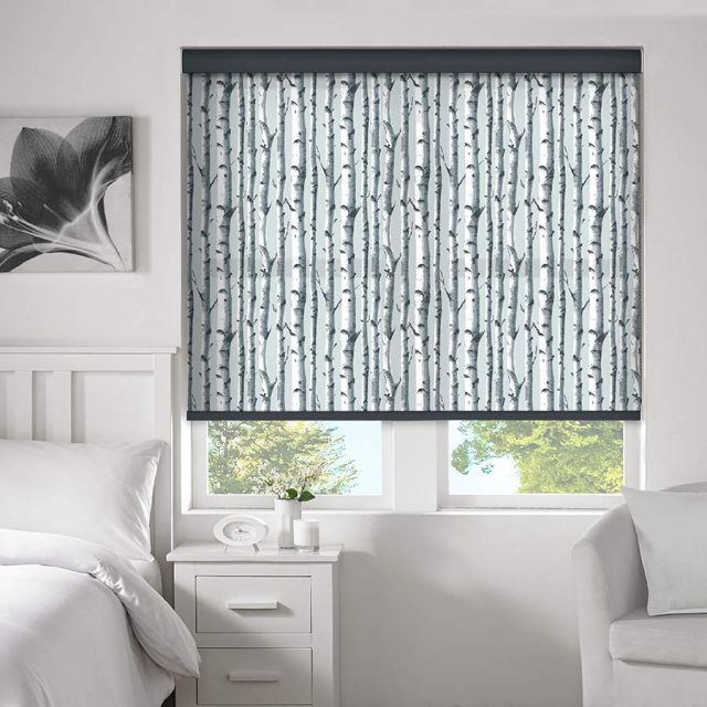 Woodland Black roller blinds