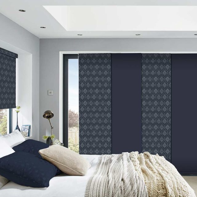 Arabesque Blue panel blinds